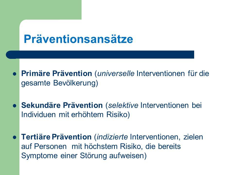 Präventionsansätze Primäre Prävention (universelle Interventionen für die gesamte Bevölkerung) Sekundäre Prävention (selektive Interventionen bei Individuen mit erhöhtem Risiko) Tertiäre Prävention (indizierte Interventionen, zielen auf Personen mit höchstem Risiko, die bereits Symptome einer Störung aufweisen)