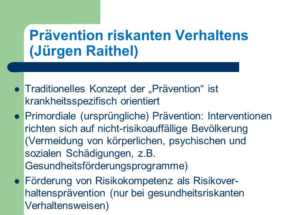 Prävention riskanten Verhaltens (Jürgen Raithel) Traditionelles Konzept der Prävention ist krankheitsspezifisch orientiert Primordiale (ursprüngliche) Prävention: Interventionen richten sich auf nicht-risikoauffällige Bevölkerung (Vermeidung von körperlichen, psychischen und sozialen Schädigungen, z.B.
