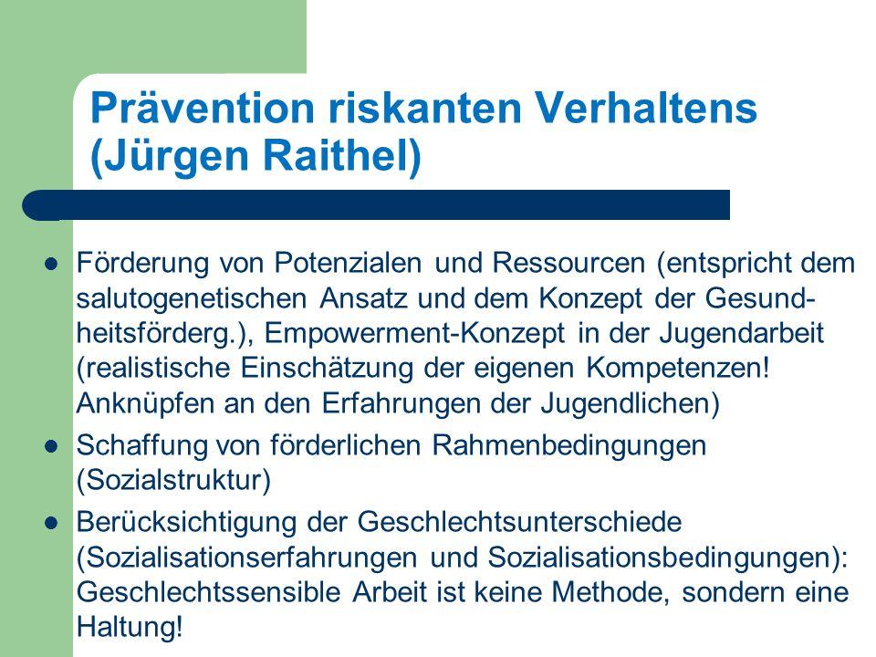 Prävention riskanten Verhaltens (Jürgen Raithel) Förderung von Potenzialen und Ressourcen (entspricht dem salutogenetischen Ansatz und dem Konzept der Gesund- heitsförderg.), Empowerment-Konzept in der Jugendarbeit (realistische Einschätzung der eigenen Kompetenzen.