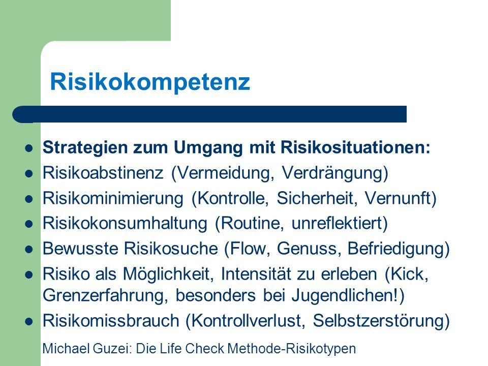 Risikokompetenz Strategien zum Umgang mit Risikosituationen: Risikoabstinenz (Vermeidung, Verdrängung) Risikominimierung (Kontrolle, Sicherheit, Vernunft) Risikokonsumhaltung (Routine, unreflektiert) Bewusste Risikosuche (Flow, Genuss, Befriedigung) Risiko als Möglichkeit, Intensität zu erleben (Kick, Grenzerfahrung, besonders bei Jugendlichen!) Risikomissbrauch (Kontrollverlust, Selbstzerstörung) Michael Guzei: Die Life Check Methode-Risikotypen