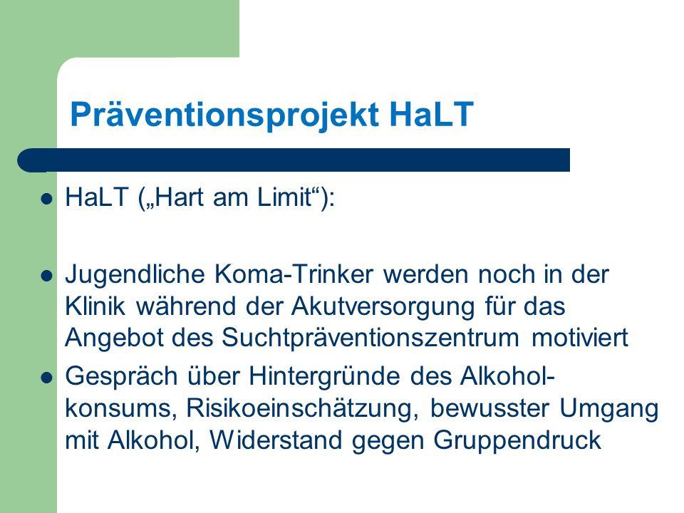 Präventionsprojekt HaLT HaLT (Hart am Limit): Jugendliche Koma-Trinker werden noch in der Klinik während der Akutversorgung für das Angebot des Suchtpräventionszentrum motiviert Gespräch über Hintergründe des Alkohol- konsums, Risikoeinschätzung, bewusster Umgang mit Alkohol, Widerstand gegen Gruppendruck