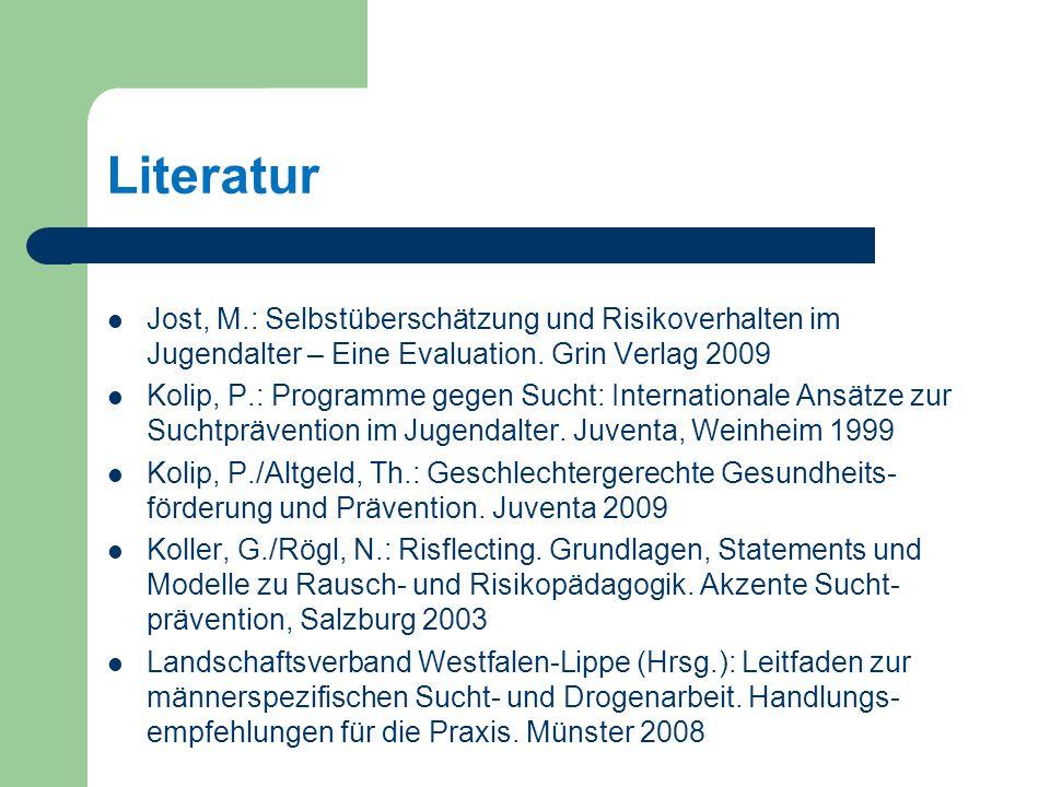 Literatur Jost, M.: Selbstüberschätzung und Risikoverhalten im Jugendalter – Eine Evaluation.