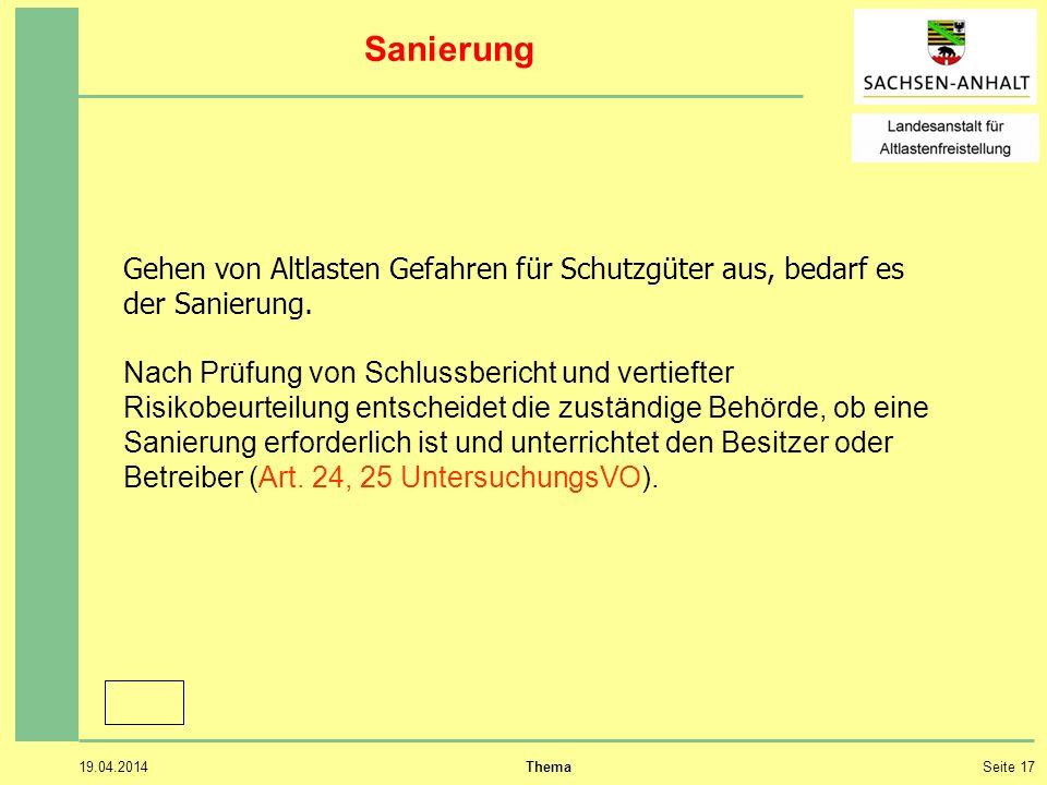 19.04.2014 ThemaSeite 17 Sanierung Gehen von Altlasten Gefahren für Schutzgüter aus, bedarf es der Sanierung.
