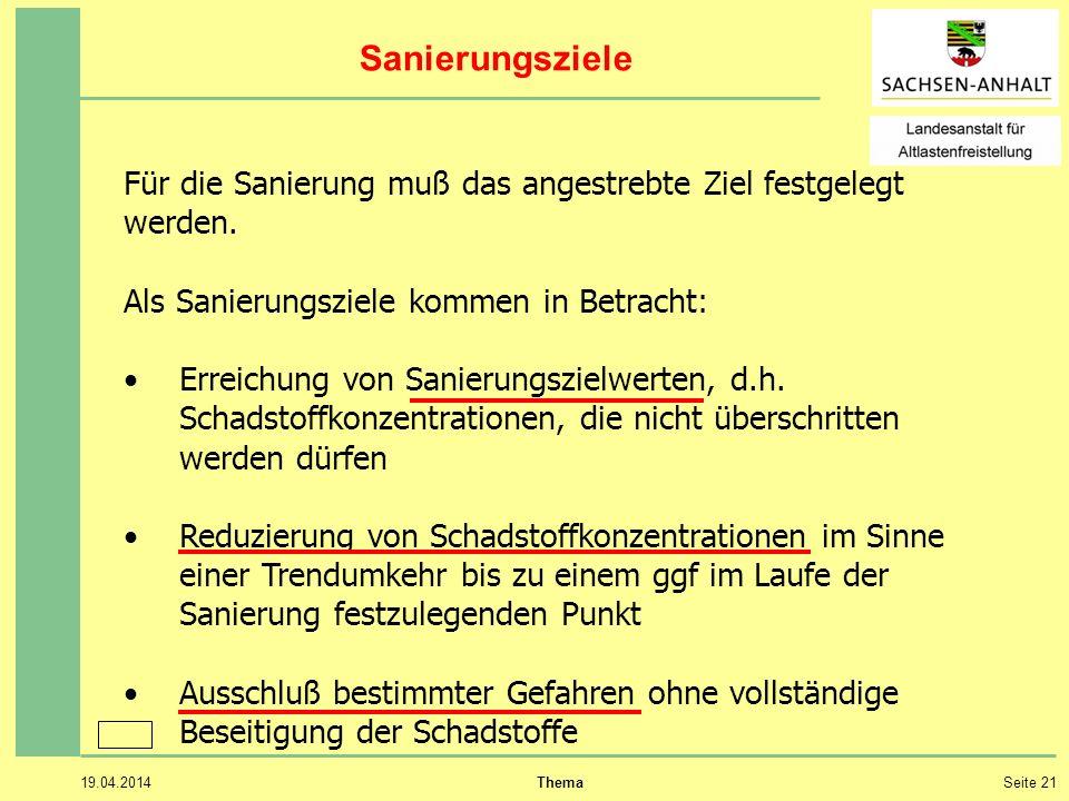 19.04.2014 ThemaSeite 21 Sanierungsziele Für die Sanierung muß das angestrebte Ziel festgelegt werden.