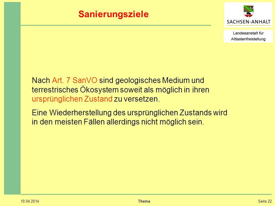 19.04.2014 ThemaSeite 22 Sanierungsziele Nach Art.