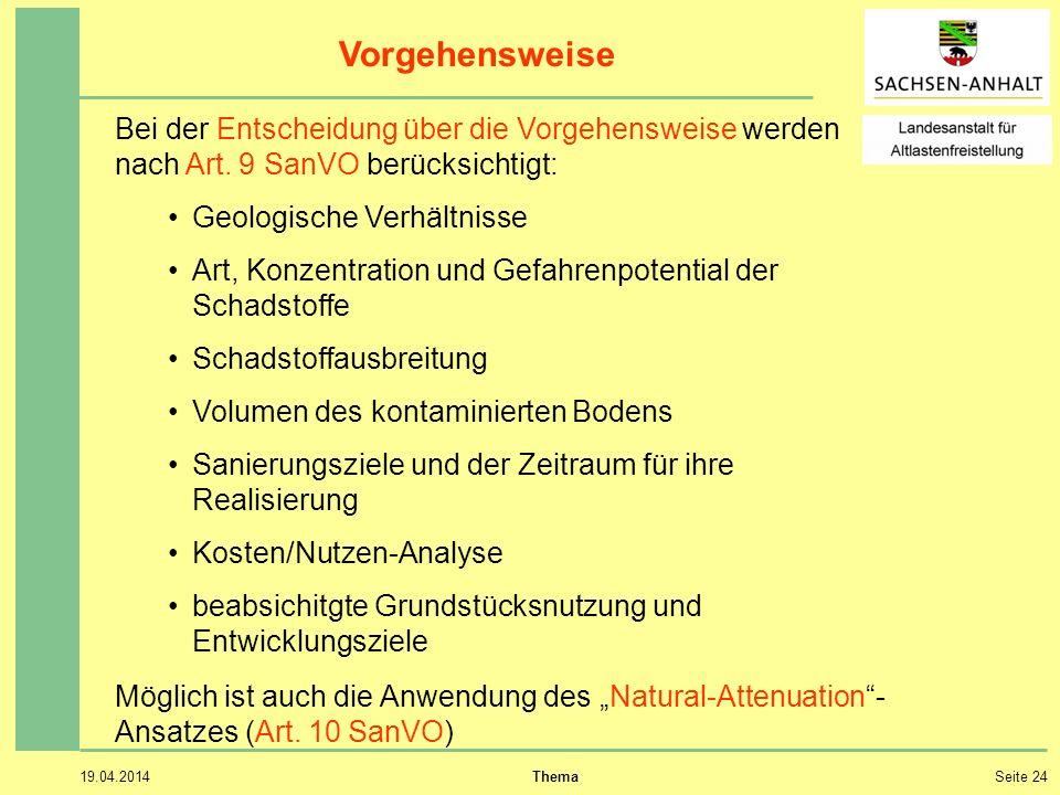 19.04.2014 ThemaSeite 24 Vorgehensweise Bei der Entscheidung über die Vorgehensweise werden nach Art.