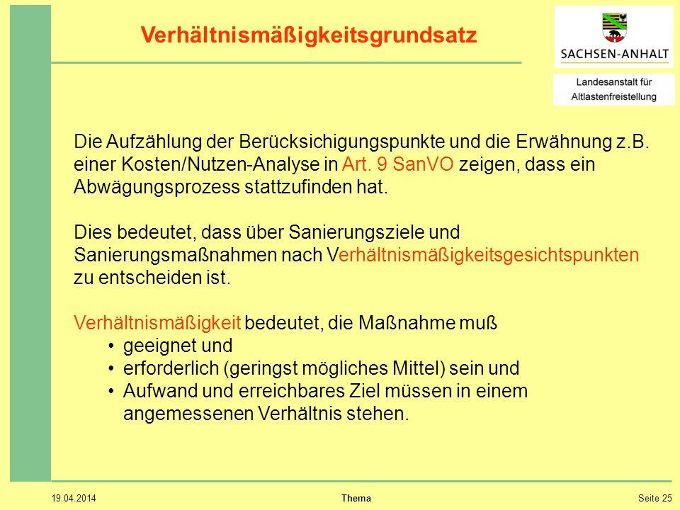 19.04.2014 ThemaSeite 25 Die Aufzählung der Berücksichigungspunkte und die Erwähnung z.B.