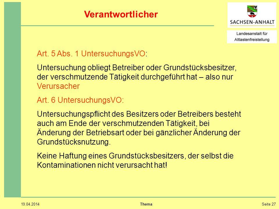 19.04.2014 ThemaSeite 27 Verantwortlicher Art.5 Abs.