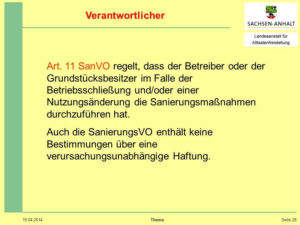 19.04.2014 ThemaSeite 28 Verantwortlicher Art.