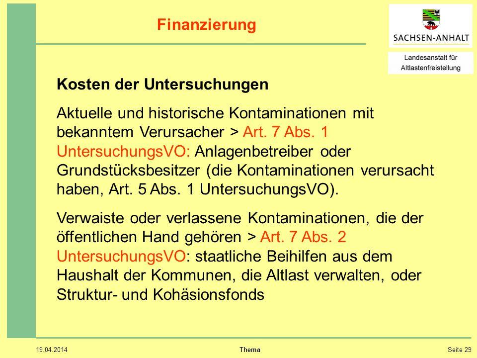 19.04.2014 ThemaSeite 29 Finanzierung Kosten der Untersuchungen Aktuelle und historische Kontaminationen mit bekanntem Verursacher > Art.