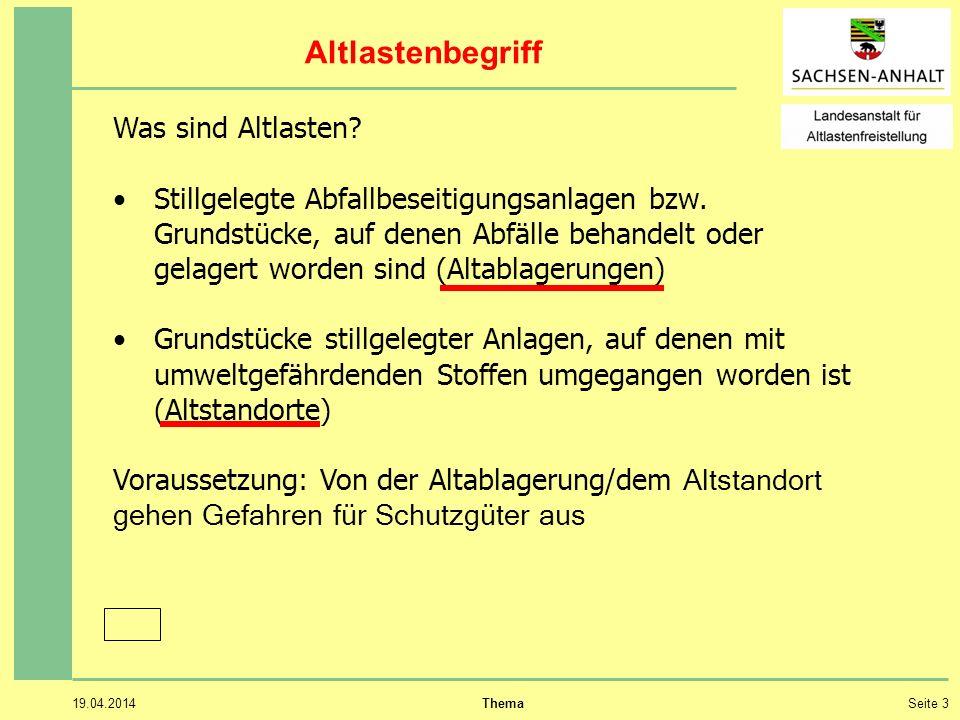 19.04.2014 ThemaSeite 3 Altlastenbegriff Was sind Altlasten.