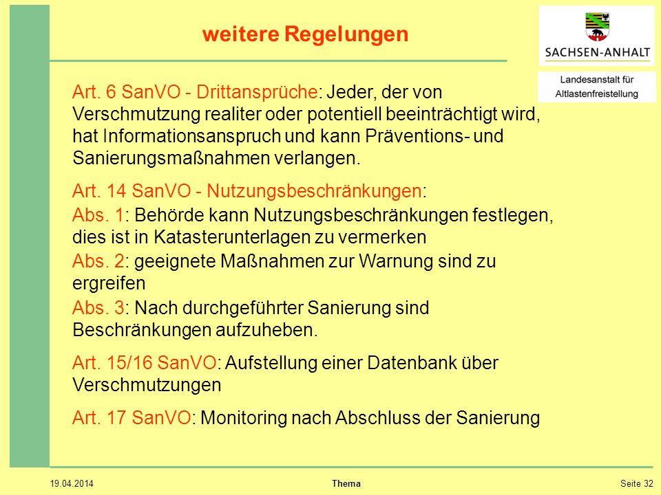 19.04.2014 ThemaSeite 32 weitere Regelungen Art.