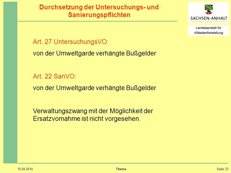 19.04.2014 ThemaSeite 33 Durchsetzung der Untersuchungs- und Sanierungspflichten Art.