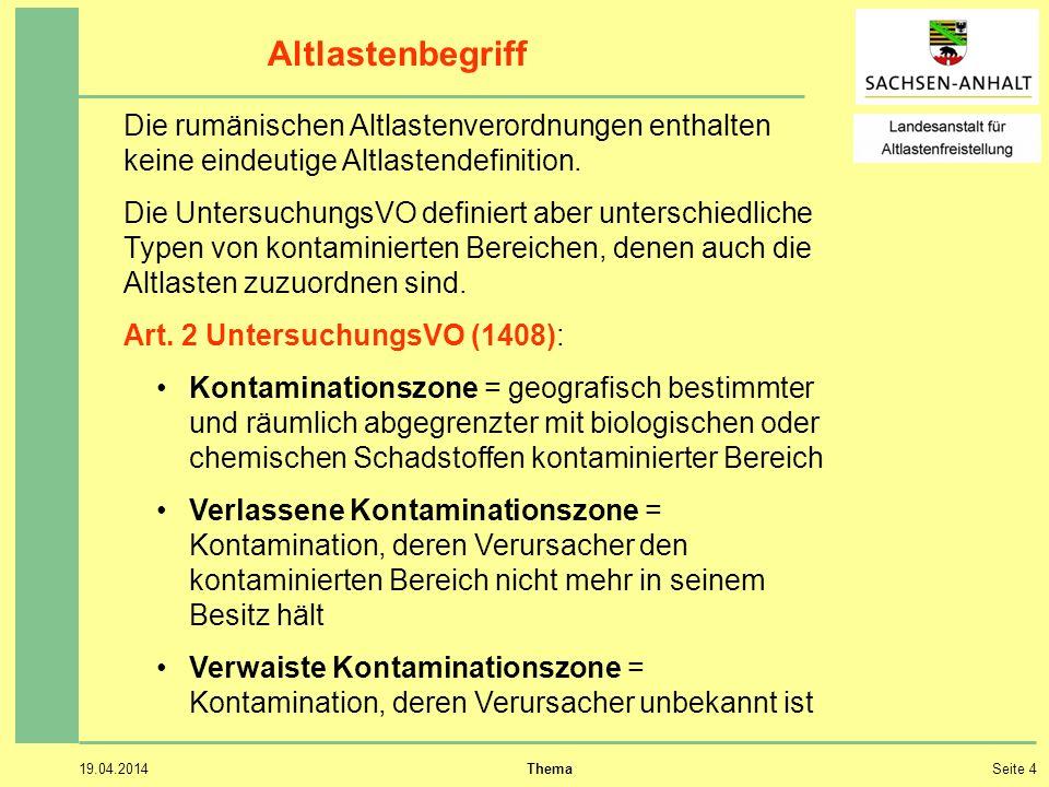 19.04.2014 ThemaSeite 4 Altlastenbegriff Die rumänischen Altlastenverordnungen enthalten keine eindeutige Altlastendefinition.