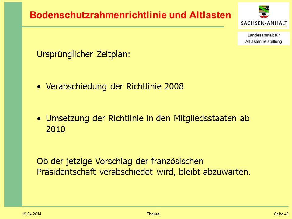 19.04.2014 ThemaSeite 43 Ursprünglicher Zeitplan: Verabschiedung der Richtlinie 2008 Umsetzung der Richtlinie in den Mitgliedsstaaten ab 2010 Ob der jetzige Vorschlag der französischen Präsidentschaft verabschiedet wird, bleibt abzuwarten.