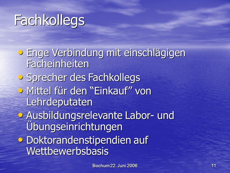 Bochum 22. Juni 200611 Fachkollegs Enge Verbindung mit einschlägigen Facheinheiten Enge Verbindung mit einschlägigen Facheinheiten Sprecher des Fachko