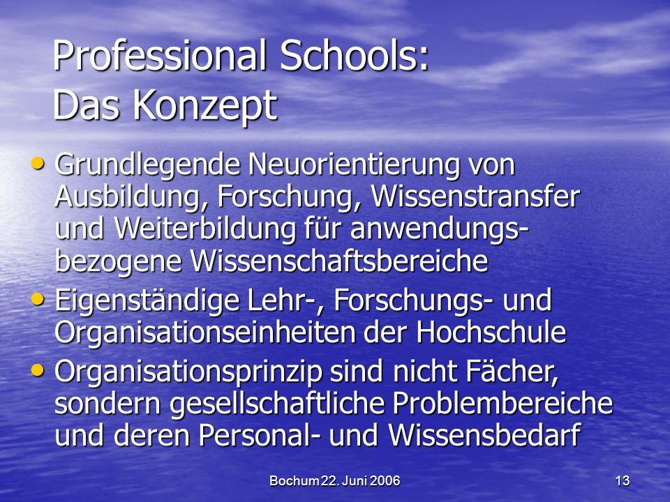 Bochum 22. Juni 200613 Professional Schools: Das Konzept Grundlegende Neuorientierung von Ausbildung, Forschung, Wissenstransfer und Weiterbildung für