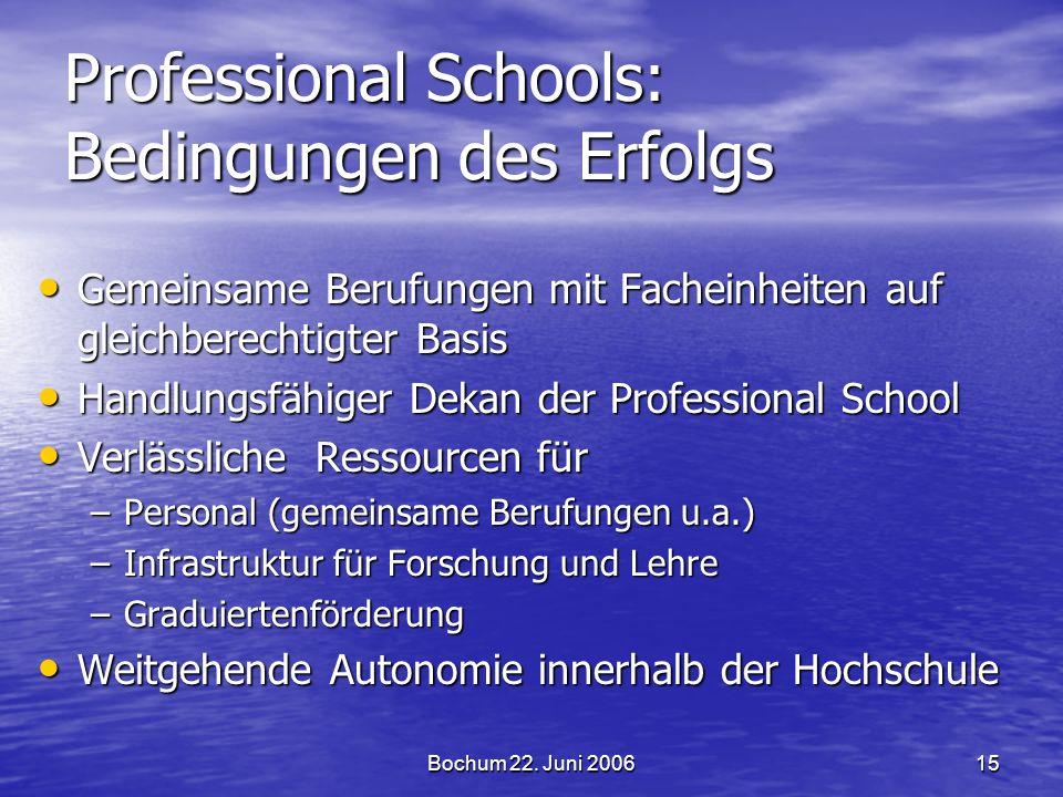 Bochum 22. Juni 200615 Professional Schools: Bedingungen des Erfolgs Gemeinsame Berufungen mit Facheinheiten auf gleichberechtigter Basis Gemeinsame B