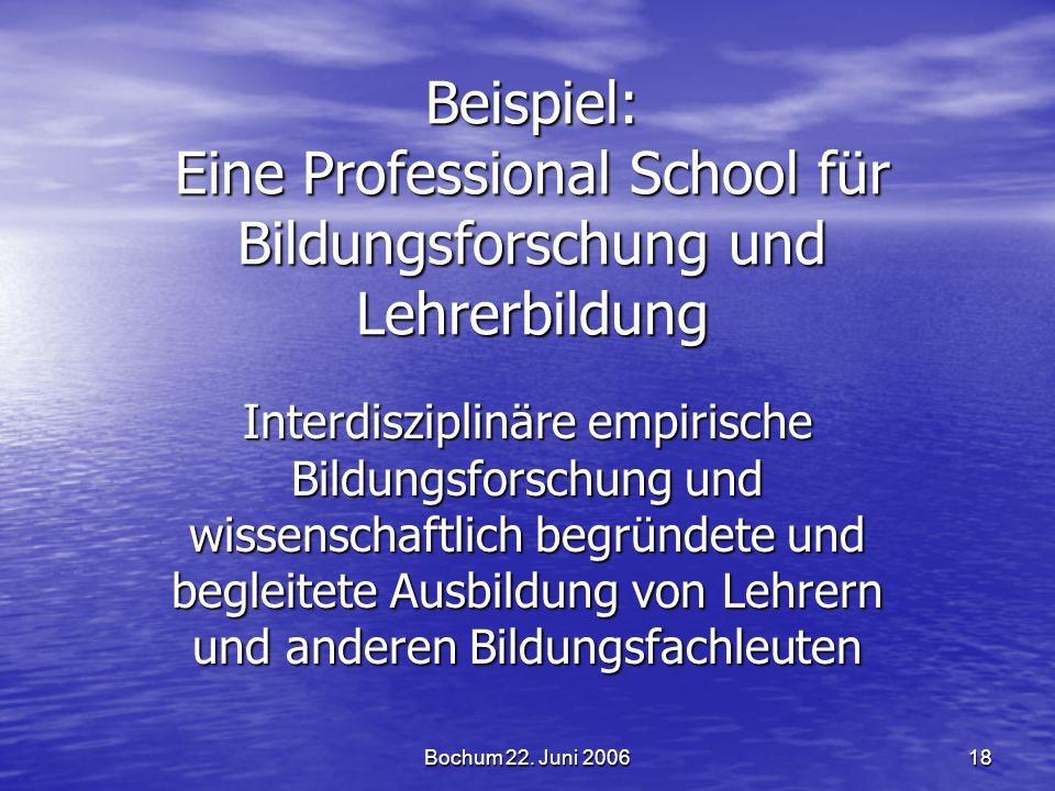 Bochum 22. Juni 2006 18 Beispiel: Eine Professional School für Bildungsforschung und Lehrerbildung Interdisziplinäre empirische Bildungsforschung und