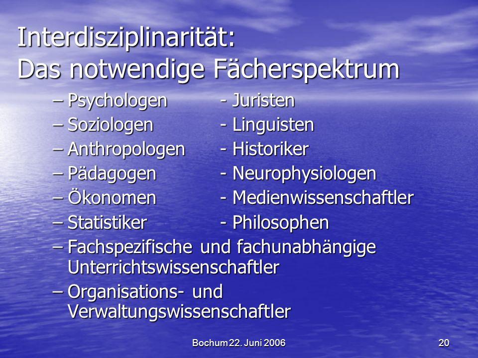 Bochum 22. Juni 200620 Interdisziplinarität: Das notwendige Fächerspektrum –Psychologen- Juristen –Soziologen- Linguisten –Anthropologen- Historiker –