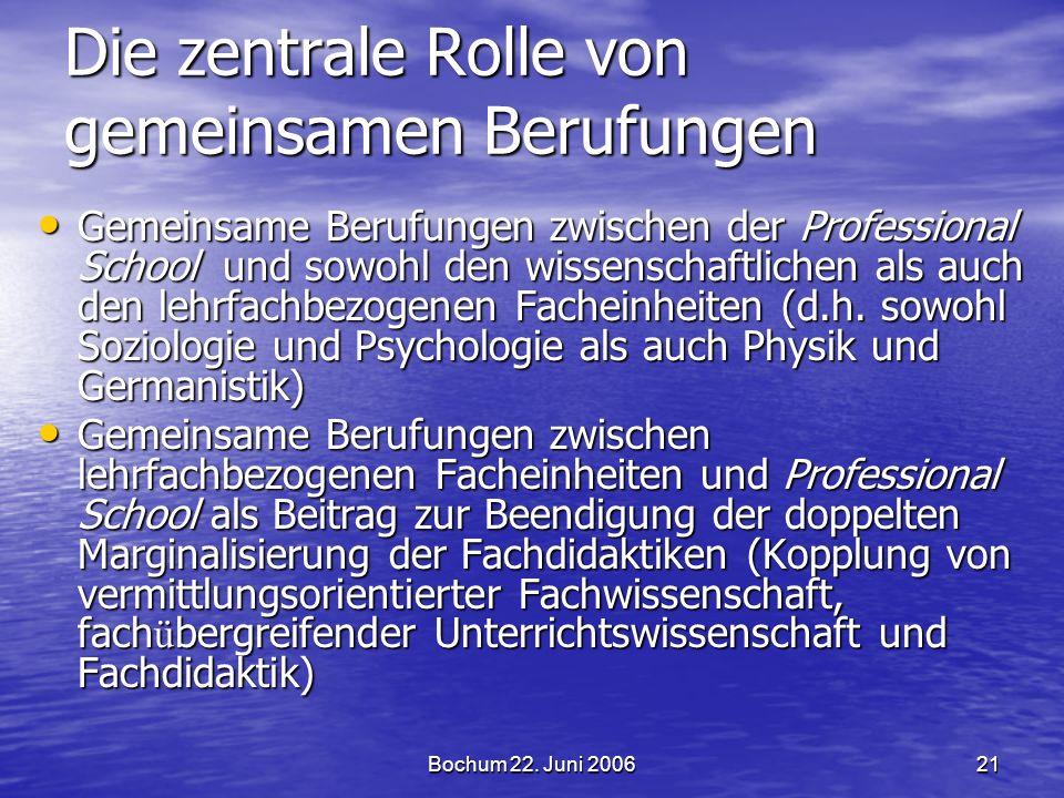 Bochum 22. Juni 200621 Die zentrale Rolle von gemeinsamen Berufungen Gemeinsame Berufungen zwischen der Professional School und sowohl den wissenschaf