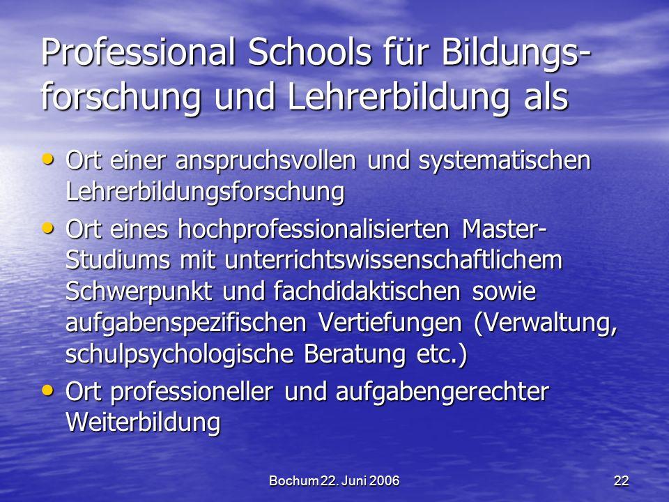 Bochum 22. Juni 200622 Professional Schools für Bildungs- forschung und Lehrerbildung als Ort einer anspruchsvollen und systematischen Lehrerbildungsf