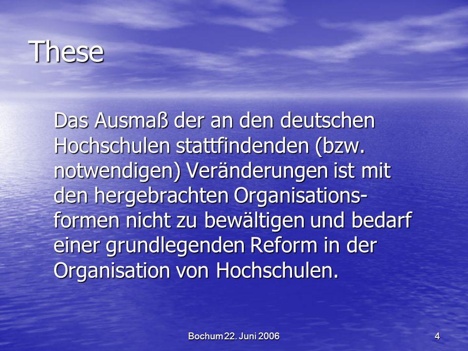 Bochum 22.Juni 20064 These Das Ausmaß der an den deutschen Hochschulen stattfindenden (bzw.