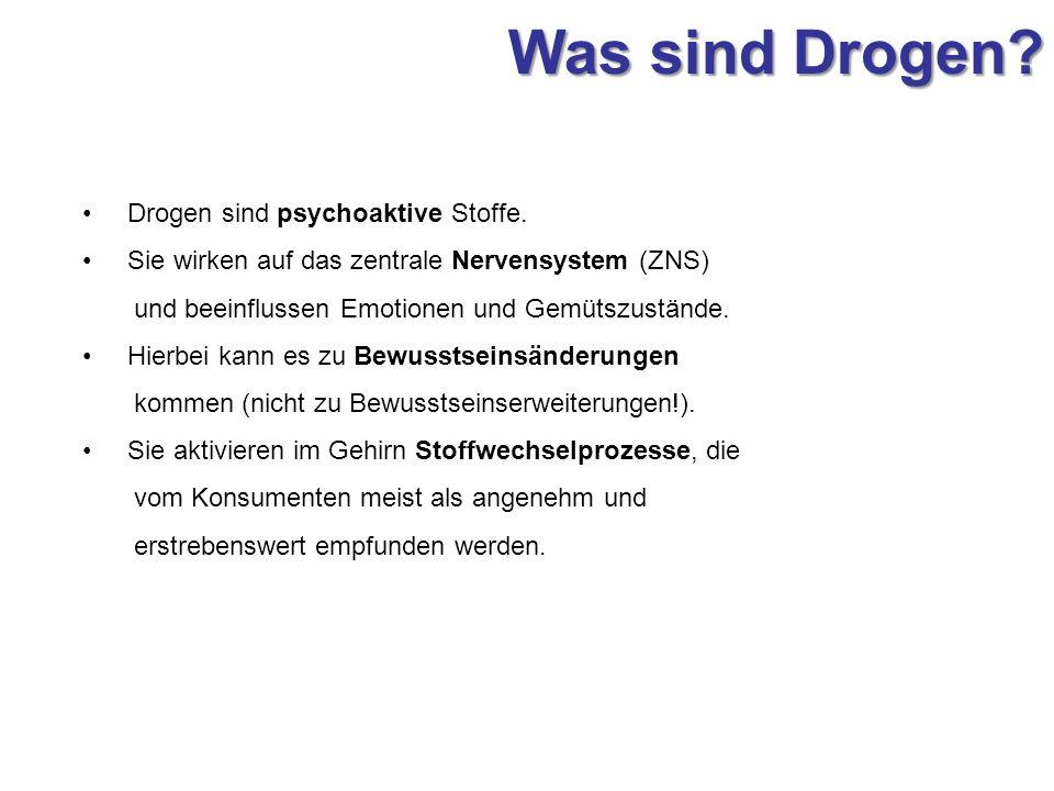 Was sind Drogen? Drogen sind psychoaktive Stoffe. Sie wirken auf das zentrale Nervensystem (ZNS) und beeinflussen Emotionen und Gemütszustände. Hierbe