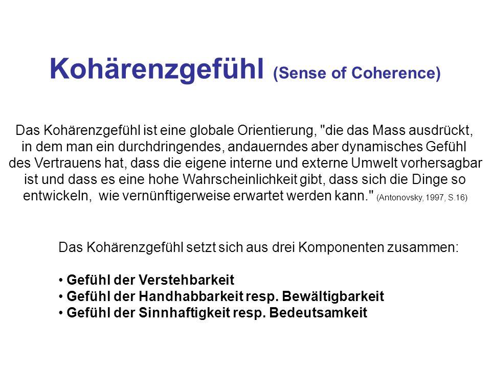 Kohärenzgefühl (Sense of Coherence) Das Kohärenzgefühl ist eine globale Orientierung,