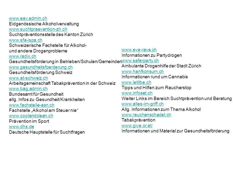 www.eve-rave.ch www.eve-rave.ch Informationen zu Partydrogen www.saferparty.ch www.saferparty.ch Ambulante Drogenhilfe der Stadt Zürich www.hanfkonsum