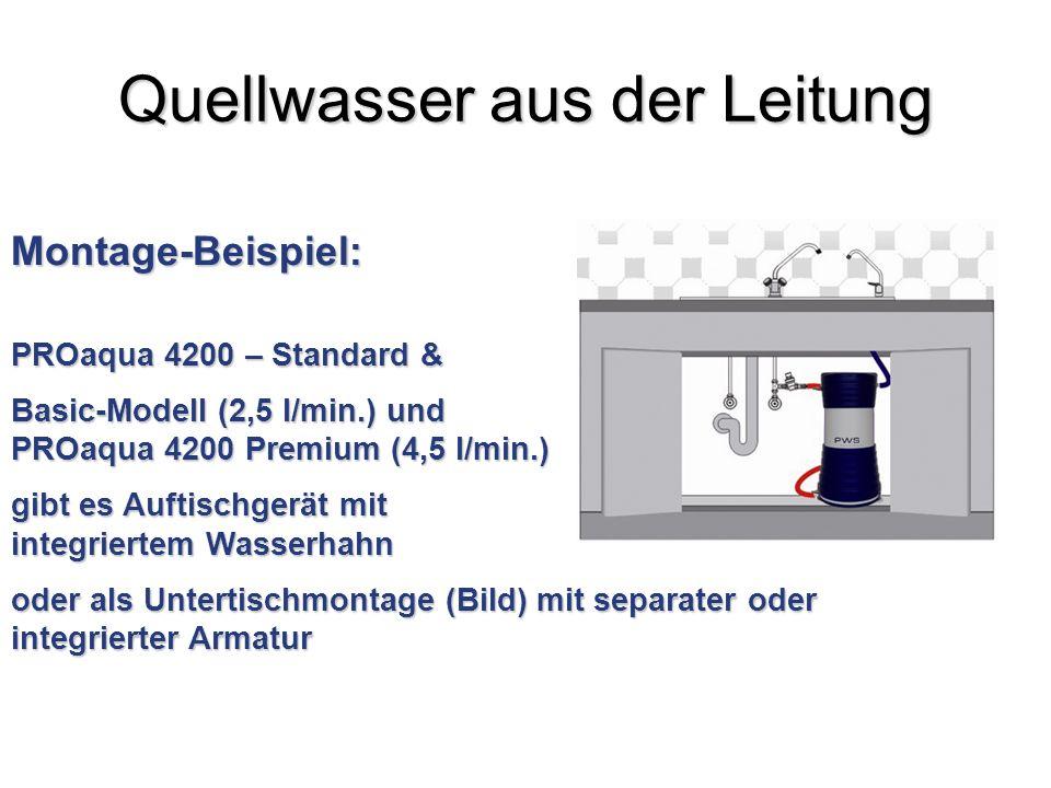 Quellwasser aus der Leitung Montage-Beispiel: PROaqua 4200 – Standard & Basic-Modell (2,5 l/min.) und PROaqua 4200 Premium (4,5 l/min.) gibt es Auftis