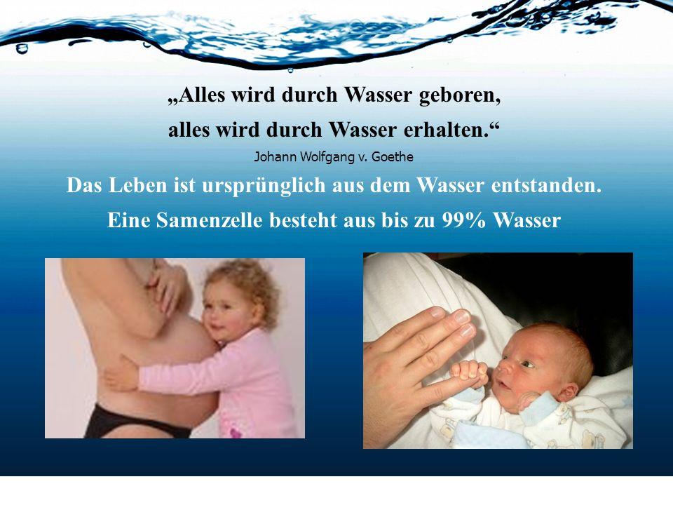 Alles wird durch Wasser geboren, alles wird durch Wasser erhalten. Johann Wolfgang v. Goethe Das Leben ist ursprünglich aus dem Wasser entstanden. Ein
