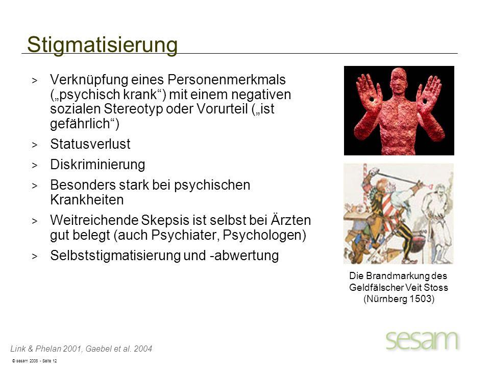 © sesam 2008 - Seite 12 Die Brandmarkung des Geldfälscher Veit Stoss (Nürnberg 1503) Link & Phelan 2001, Gaebel et al. 2004 Stigmatisierung > Verknüpf