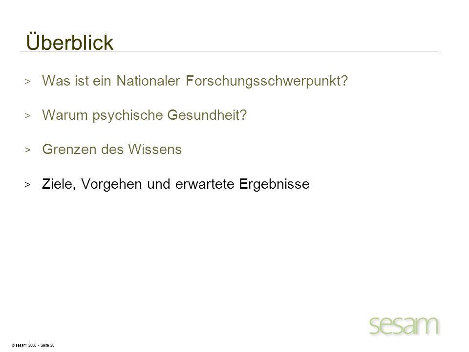 © sesam 2008 - Seite 20 Überblick > Was ist ein Nationaler Forschungsschwerpunkt? > Warum psychische Gesundheit? > Grenzen des Wissens > Ziele, Vorgeh