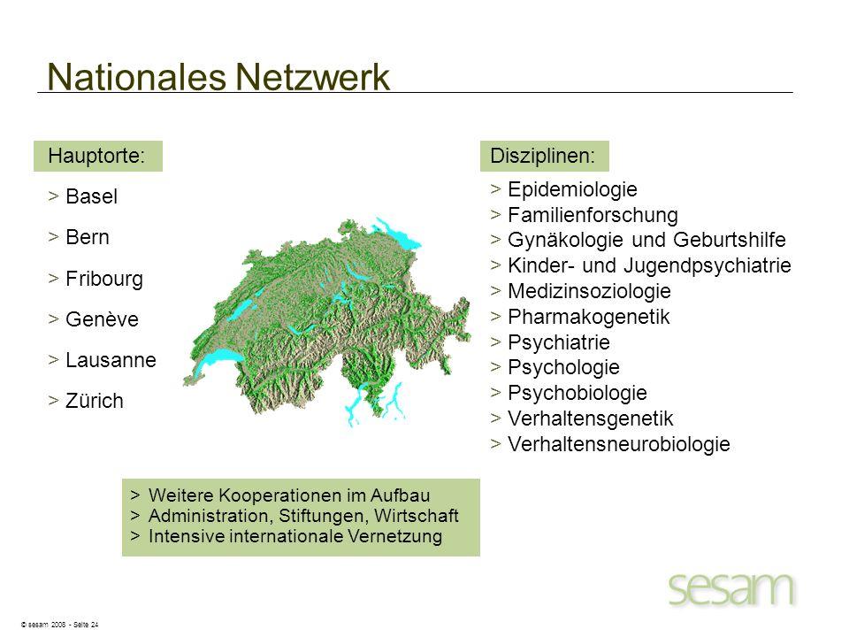 © sesam 2008 - Seite 24 Nationales Netzwerk Hauptorte: >Basel >Bern >Fribourg >Genève >Lausanne >Zürich Disziplinen: >Epidemiologie >Familienforschung