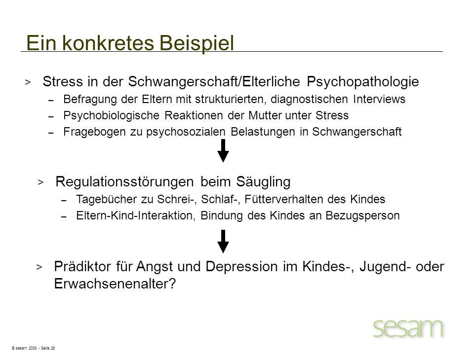 © sesam 2008 - Seite 26 Ein konkretes Beispiel > Stress in der Schwangerschaft/Elterliche Psychopathologie – Befragung der Eltern mit strukturierten,