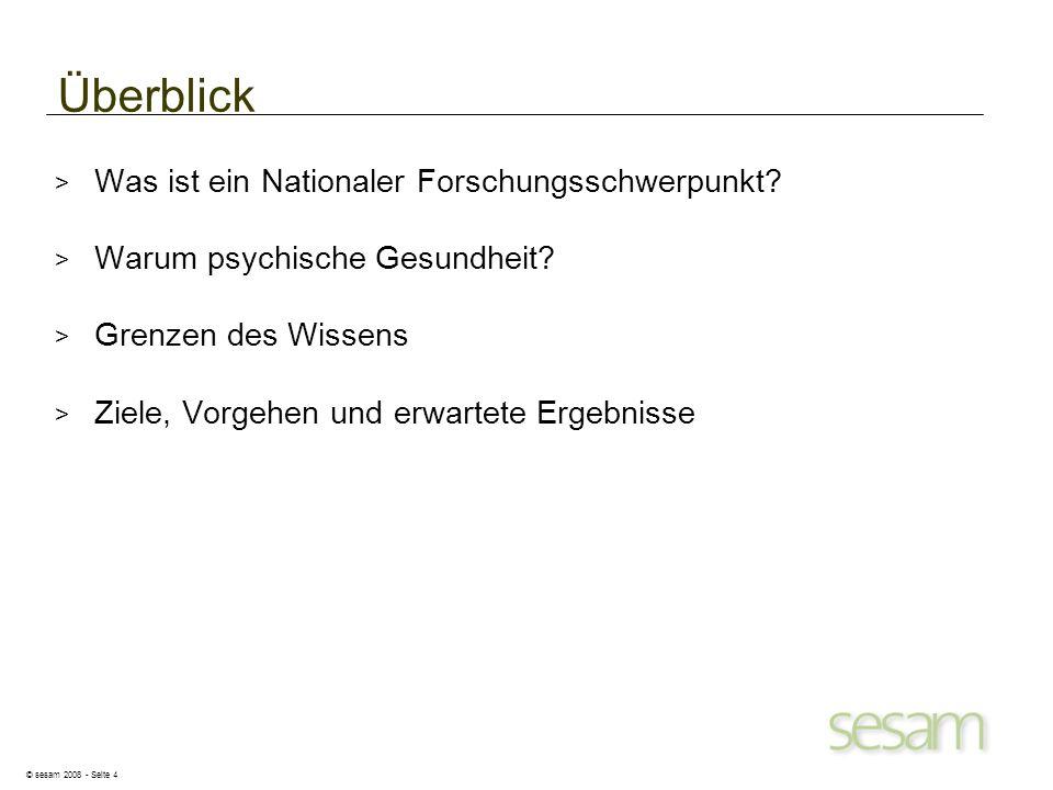 © sesam 2008 - Seite 4 Überblick > Was ist ein Nationaler Forschungsschwerpunkt? > Warum psychische Gesundheit? > Grenzen des Wissens > Ziele, Vorgehe