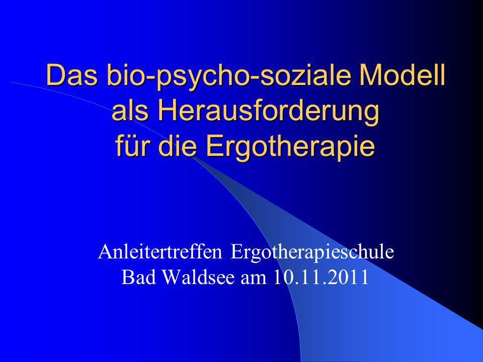 Das allgemeine bio-psycho-soziale Modell von Krankheit sieht sein Hauptziel und seinen Ansatzpunkt in der Verbesserung des Krankheitszustandes, unter Berücksichtigung körperlicher, psychischer und sozialer Faktoren und die Vermeidung von sekundären Folgeerkrankungen entsprechend den Vorgaben und Zielen der ICF (Stand März 2002).