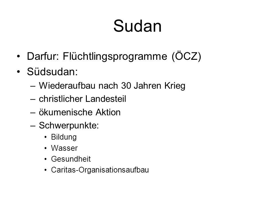 Sudan Darfur: Flüchtlingsprogramme (ÖCZ) Südsudan: –Wiederaufbau nach 30 Jahren Krieg –christlicher Landesteil –ökumenische Aktion –Schwerpunkte: Bild