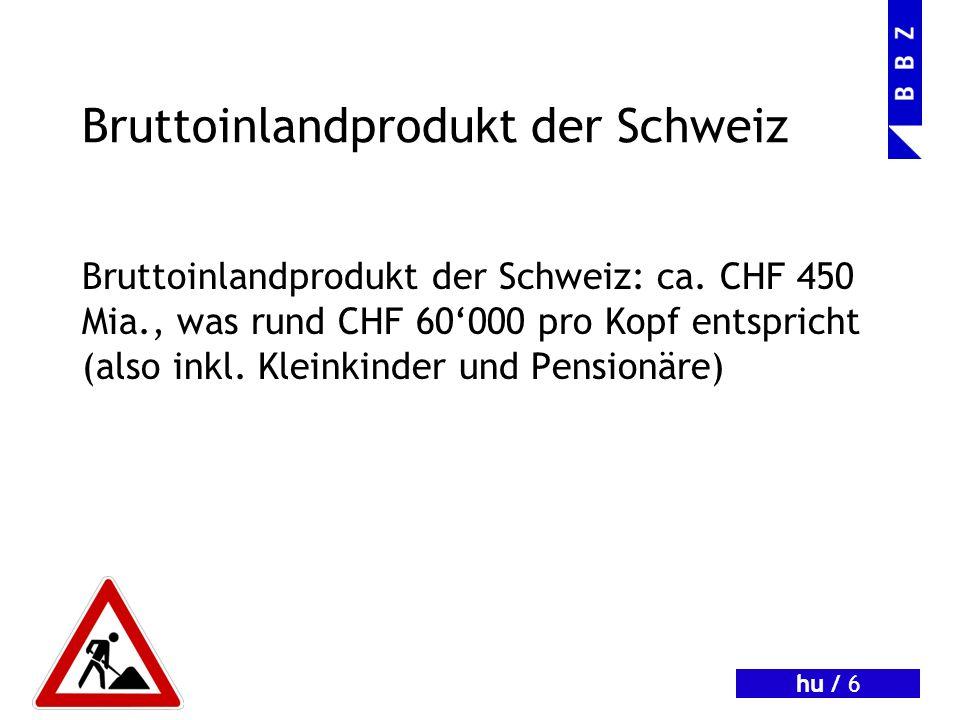 hu / 6 Bruttoinlandprodukt der Schweiz Bruttoinlandprodukt der Schweiz: ca.