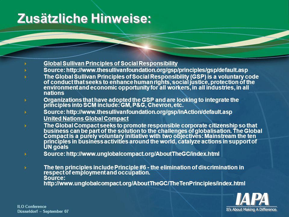 ILO Conference Düsseldorf – September 07 Zusätzliche Hinweise: Global Sullivan Principles of Social Responsibility Source: http://www.thesullivanfound
