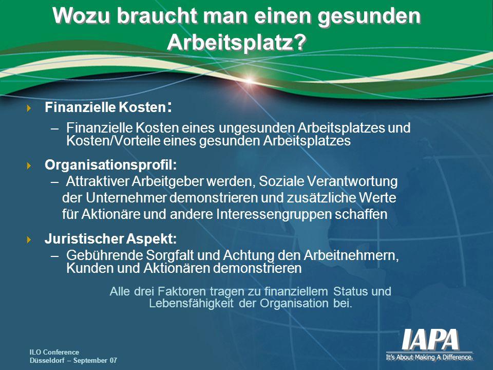 ILO Conference Düsseldorf – September 07 Wozu braucht man einen gesunden Arbeitsplatz? Finanzielle Kosten : –Finanzielle Kosten eines ungesunden Arbei