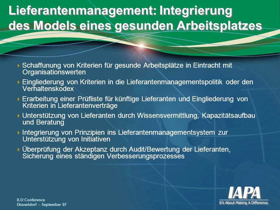 ILO Conference Düsseldorf – September 07 Lieferantenmanagement: Integrierung des Models eines gesunden Arbeitsplatzes Schaffunung von Kriterien für ge