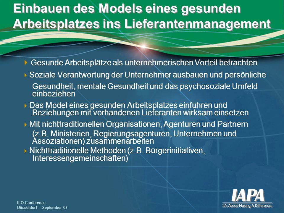 ILO Conference Düsseldorf – September 07 Einbauen des Models eines gesunden Arbeitsplatzes ins Lieferantenmanagement Gesunde Arbeitsplätze als unterne