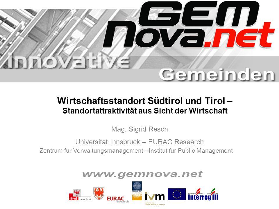 1 Wirtschaftsstandort Südtirol und Tirol – Standortattraktivität aus Sicht der Wirtschaft Mag. Sigrid Resch Universität Innsbruck – EURAC Research Zen