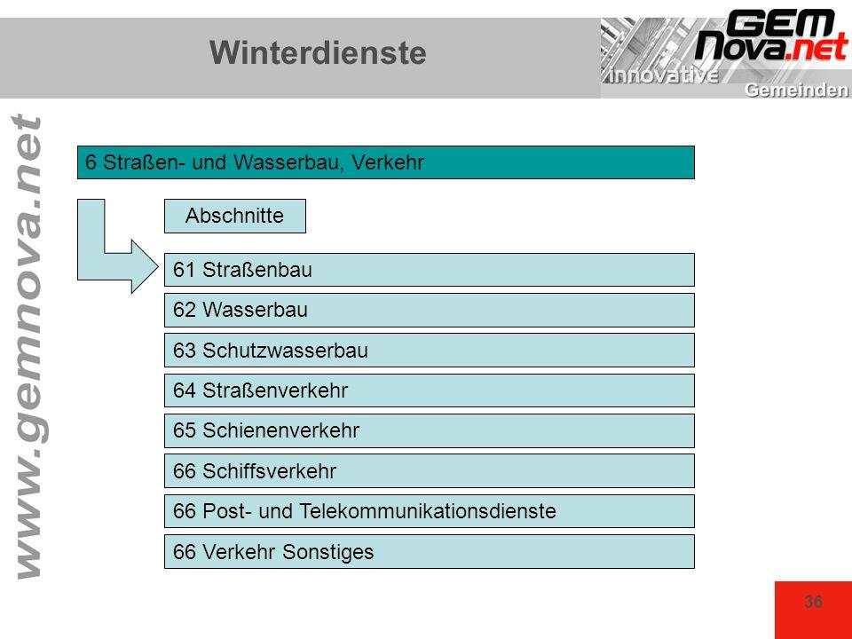 36 Winterdienste 6 Straßen- und Wasserbau, Verkehr Abschnitte 61 Straßenbau 62 Wasserbau 63 Schutzwasserbau 64 Straßenverkehr 65 Schienenverkehr 66 Sc