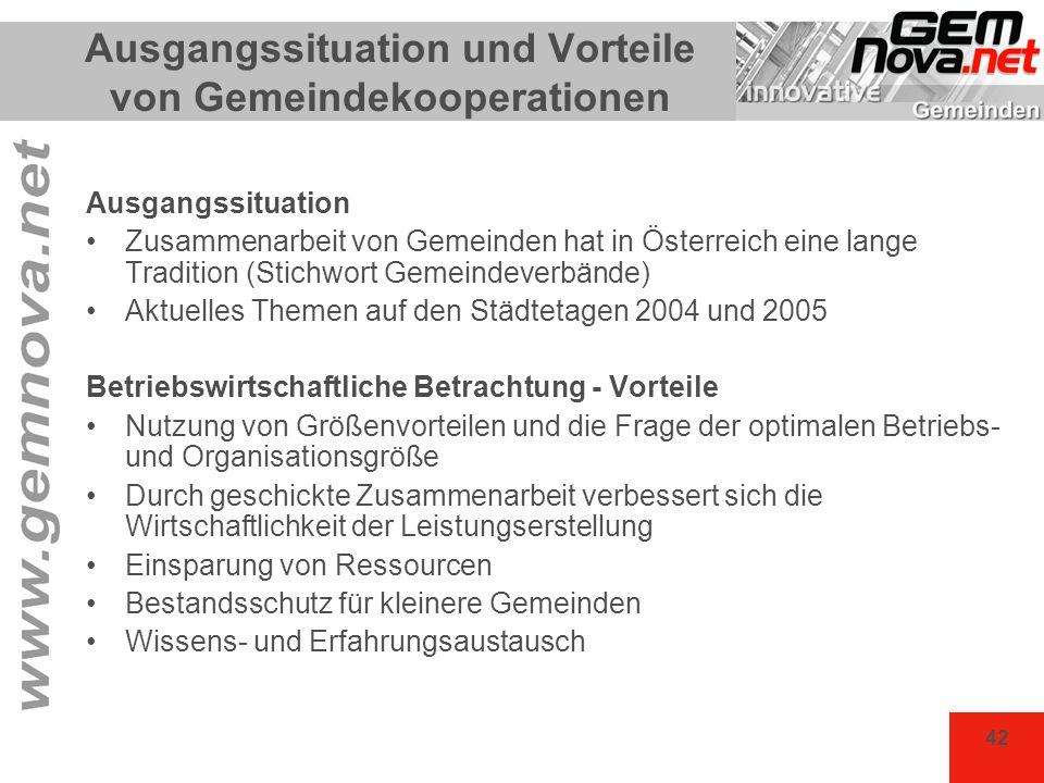 42 Ausgangssituation und Vorteile von Gemeindekooperationen Ausgangssituation Zusammenarbeit von Gemeinden hat in Österreich eine lange Tradition (Sti