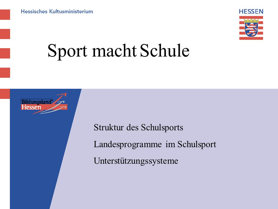 Sport macht Schule Struktur des Schulsports Landesprogramme im Schulsport Unterstützungssysteme