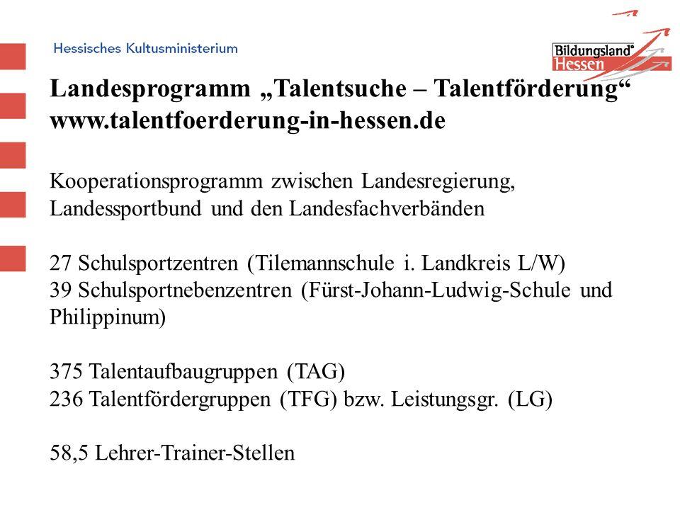 www.talentfoerderung-in-hessen.de Kooperationsprogramm zwischen Landesregierung, Landessportbund und den Landesfachverbänden 27 Schulsportzentren (Til