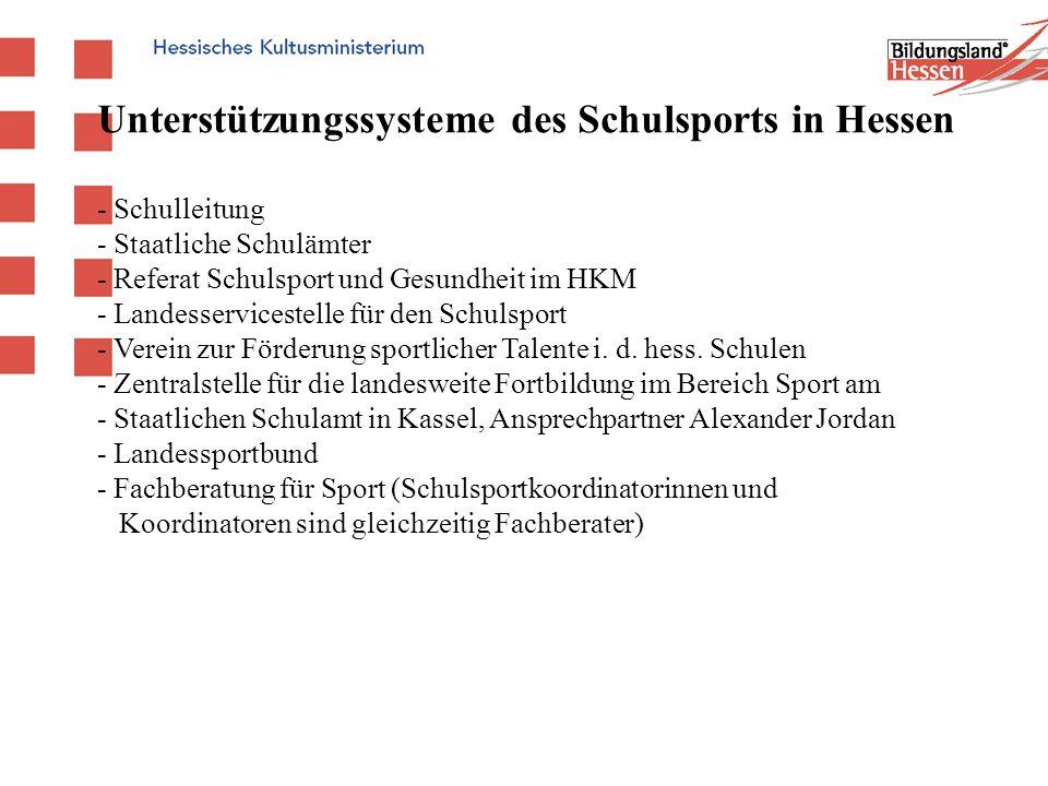 Unterstützungssysteme des Schulsports in Hessen - Schulleitung - Staatliche Schulämter - Referat Schulsport und Gesundheit im HKM - Landesservicestell